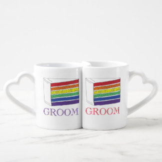 Groom Couple Gay Pride Rainbow Wedding Cake Slice Coffee Mug Set
