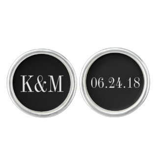 Groom Cufflinks | Wedding Initials and Date