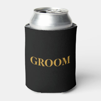 GROOM For Him Wedding Black Can Cooler