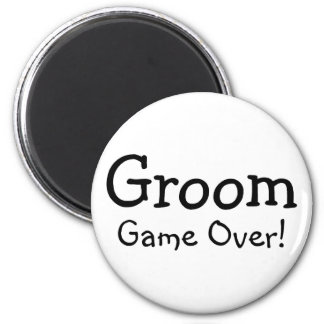 Groom Game Over 2 Inch Round Magnet