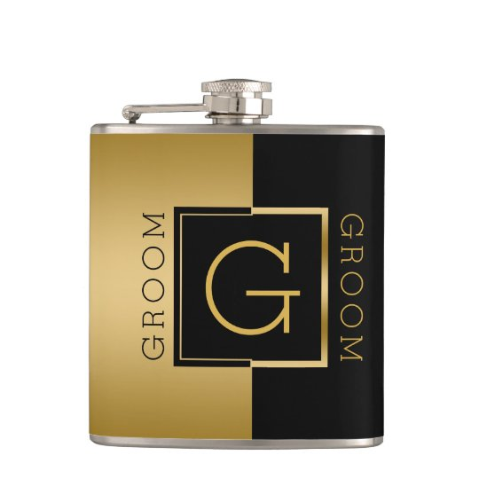 Groom Gold & Black Modern Geometric Design Flask
