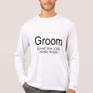 Groom Good Bye Life Hello Wife Tee Shirts