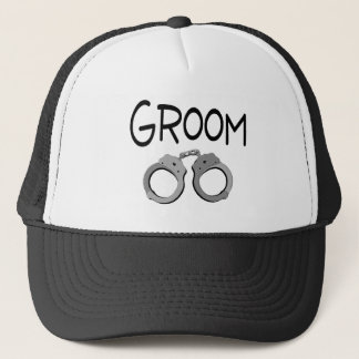 Groom Handcuffs Wedding Trucker Hat