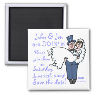 Groom in Top Hat and Tails Carries Bride Save Date Magnet