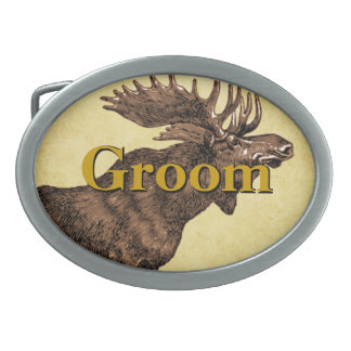 Groom Moose Belt Buckle