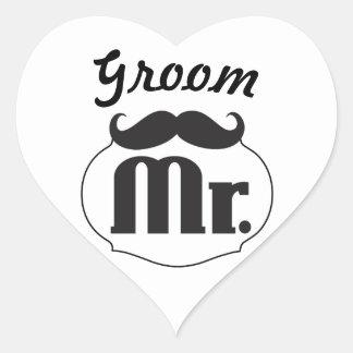 Groom Mustache Bachelor Party Heart Sticker