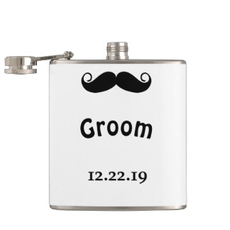 Groom Mustache Hipster Wedding Hip Flask