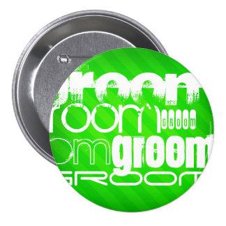 Groom; Neon Green Stripes 3 Inch Round Button