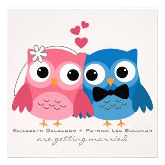 Groom Owl and Bride Owl Cute Wedding Invitation