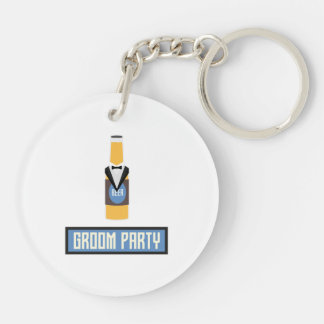 Groom Party Beer Bottle Z77yx Double-Sided Round Acrylic Keychain