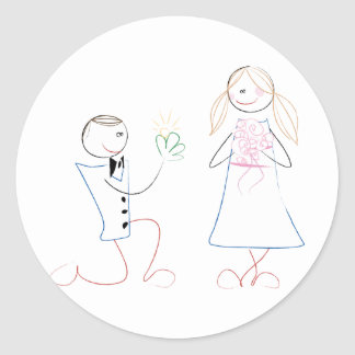 Groom Proposing to Bride Wedding Stickers