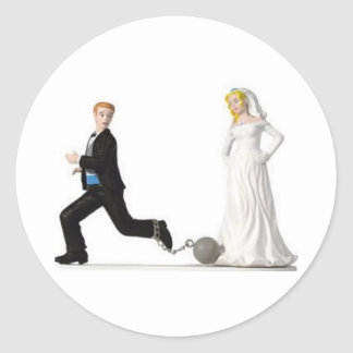 Groom running from Bride Classic Round Sticker