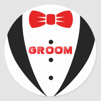 Groom Tex-Black Tuxedo & Red Bowtie Round Sticker