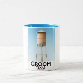 Groom Texas Route 66 Americana travel print Two-Tone Coffee Mug