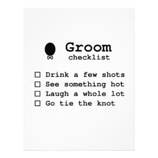 Groom to be bachlor party checklist letterhead