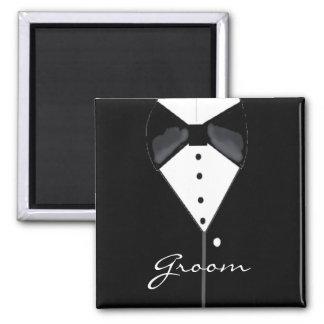 Groom Tuxedo Square Magnet