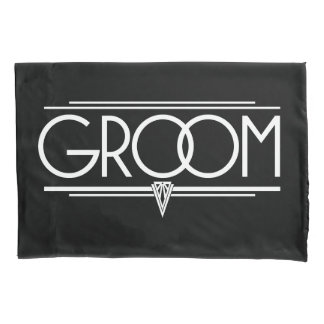 GROOM Type Hand Lettering - Art Deco Elegant White Pillowcase