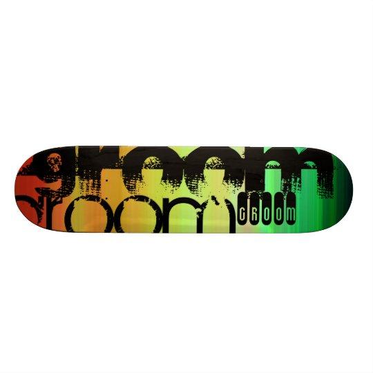 Groom; Vibrant Green, Orange, & Yellow Custom Skate Board