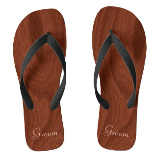 Groom Wedding Day Rustic Wood Look Beach Honeymoon Flip Flops