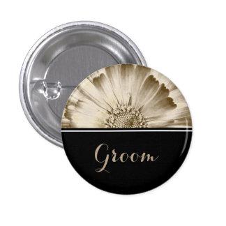 Groom Wedding Gold Daisy 1 Inch Round Button