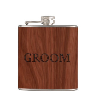Groom Wedding | Rustic Woodgrain Hip Flask