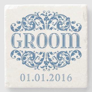 Groom wedding stone coasters Save the Date Blue Stone Beverage Coaster