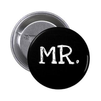 Groom White Text Mr. 2 Inch Round Button