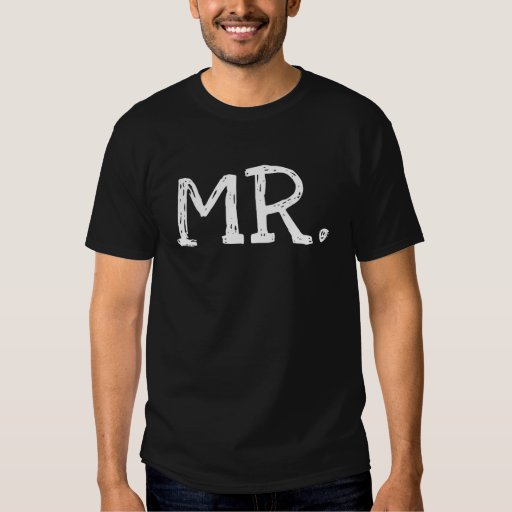 Groom White Text Mr. Tee Shirts