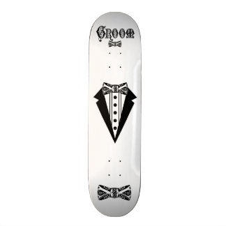 Groom with Bow Tie and Tux and Black Type Custom Skate Board