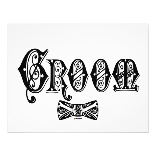 Groom with Bow Tie Black Type Personalized Letterhead