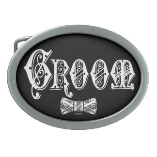 Groom with Bow Tie White and Black Type Oval Belt Buckle