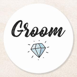 Groom with Diamond Wedding Gift Round Paper Coaster
