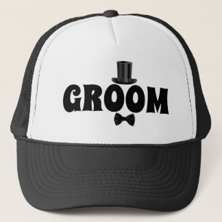 Groom with Top Hat and Bow Tie Trucker Hat