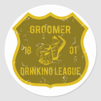 Groomer Drinking League Round Stickers