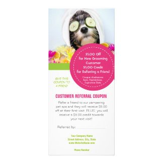 Grooming customer referral coupons full colour rack card