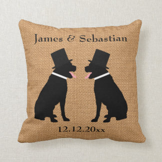 Grooms Black Labradors Personalized Gay Wedding Throw Pillow