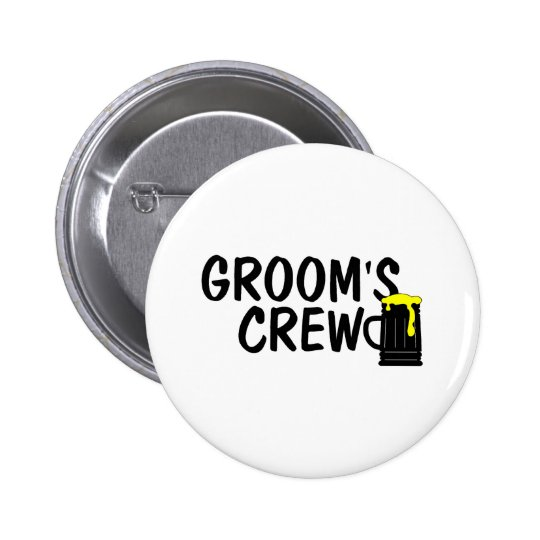 Grooms Crew Beer 2 Inch Round Button