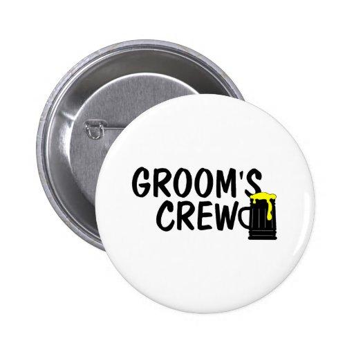 Grooms Crew Beer Pinback Buttons