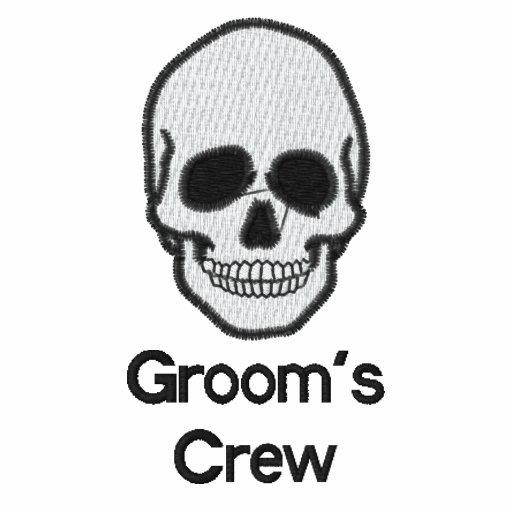 Groom's crew skull embroidered men's t-shirt