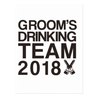 Groom's drinking team 2018 postcard