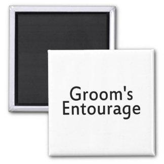 Grooms Entourage Black Fridge Magnet