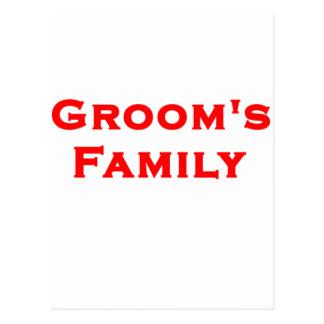 groom's family wedding gear postcard