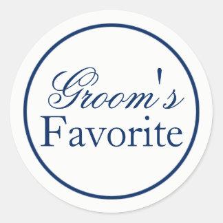 """Groom's Favourite"" Wedding Favour Sticker - Navy"
