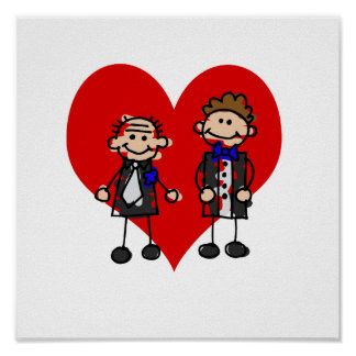 Grooms on a heart poster