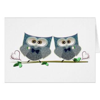 Grooms Owls Wedding Gifts Card