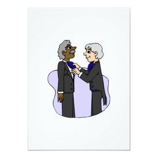 "Grooms preparing for wedding Old Interracial 5"" X 7"" Invitation Card"