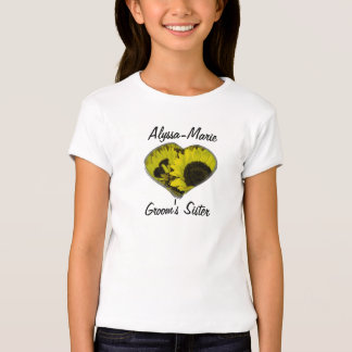 """Groom's Sister"" - Yellow Sunflower Heart T-Shirt"