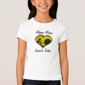 """Groom's Sister"" - Yellow Sunflower Heart Tee Shirts"