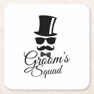 Groom's squad square paper coaster