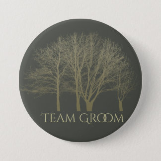 Groom's team ELEGANT GREY GOLD FALL AUTUMN TREES 3 Inch Round Button